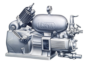 Urania pump with compressor for stirring liquid in the tank